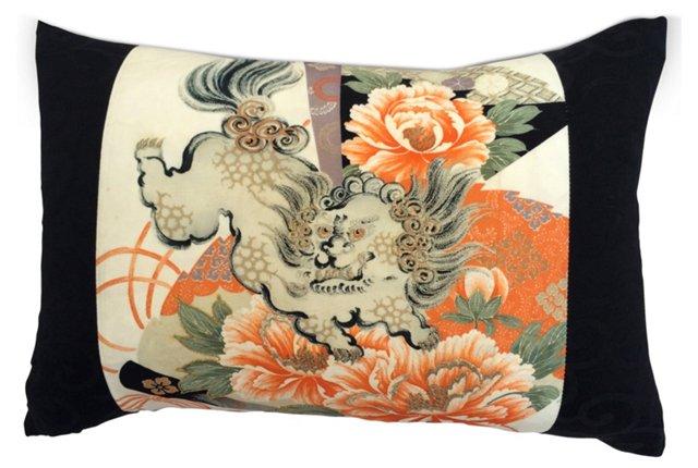 Pillow w/ Silk Antique Kimono Foo Dog