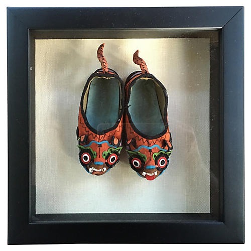 Chinese Foo Dragon Silk Shoes Shadow Box
