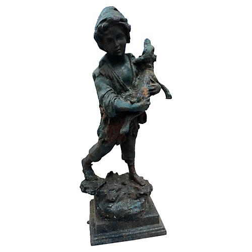 French Iron Boy w/ Calf Garden Statue