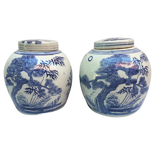 Chinese Bamboo Tree Ginger Jars, Pair