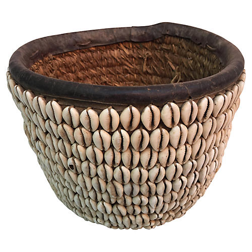 African Handwoven Shell Basket