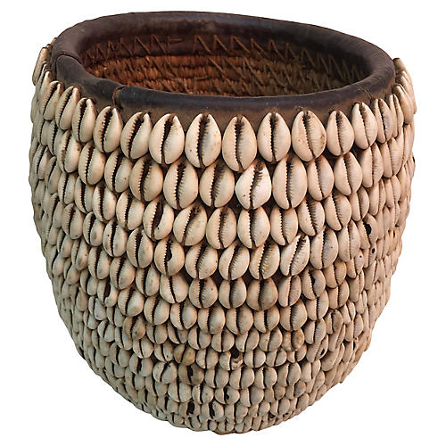African Tribal Cowry Shell Basket