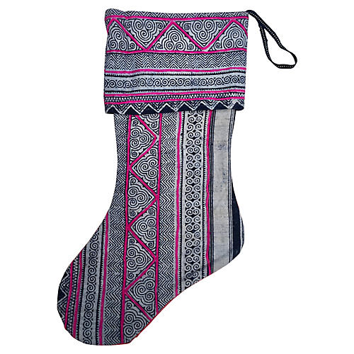 Indigo Batik Christmas Stocking