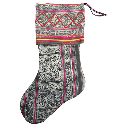Hand-Blocked Silver Batik Stocking