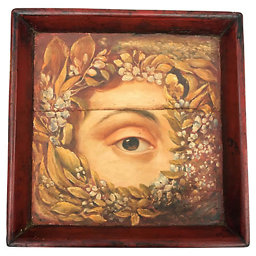Rustic Wood Tray W/ Eye Wreath Painting