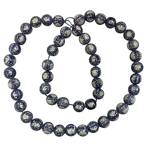 Blue & White Porcelain Beads, S/50