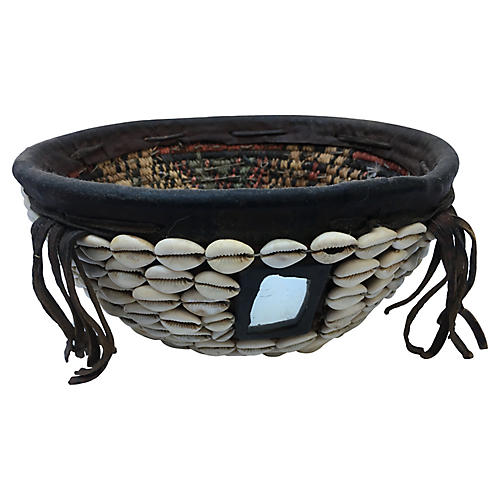 African Cowry Shell & Mirror Basket