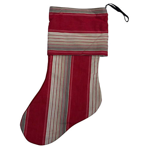 Antique French Ticking Xmas Stocking