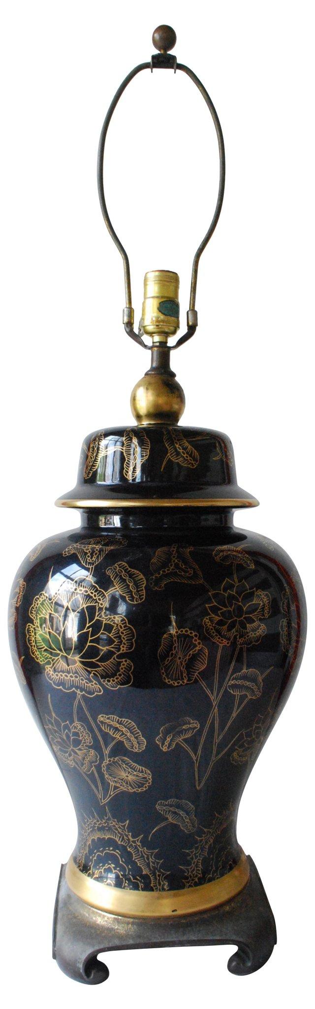Black Lotus Ginger Jar Lamp