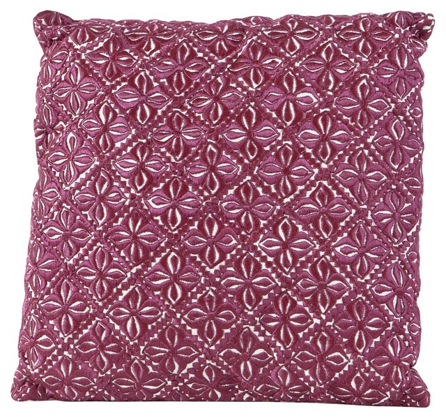 Hand-Embroidered Moroccan Silk Pillow