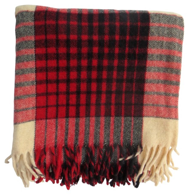 Red & Cream Plaid Blanket
