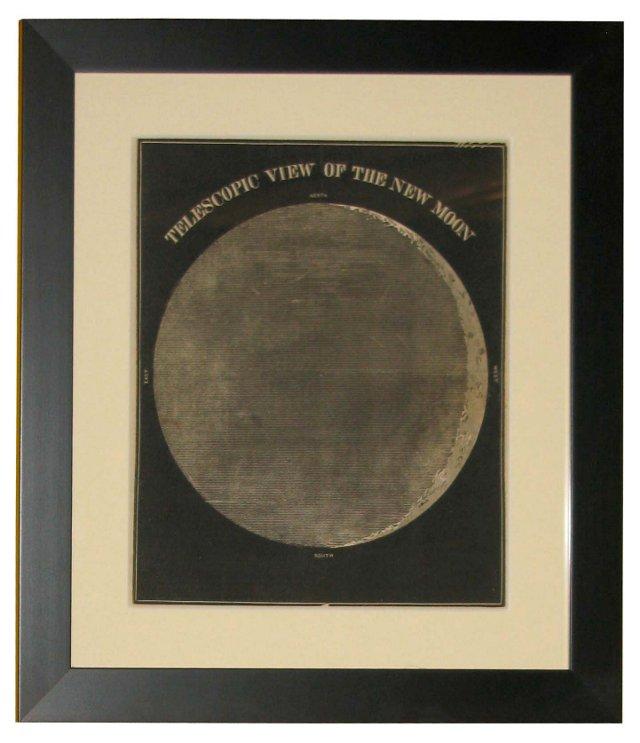 19th-C. Telescopic  New Moon Print