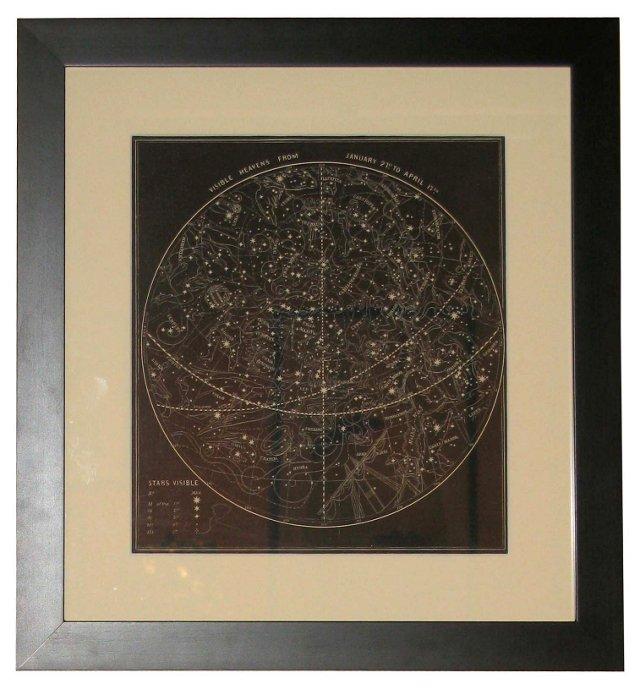 19th-C. January Visible Heavens Print