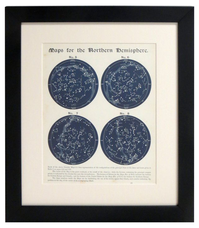 19th-C. N.  Hemisphere Star Maps