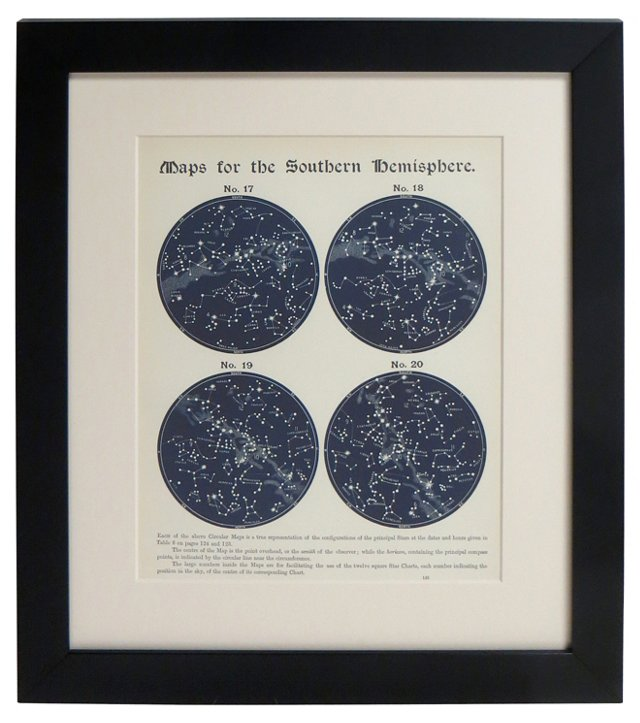 19th-C. S. Hemisphere Star Map