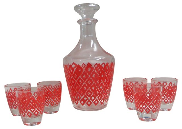 French Decanter & Shots Set, 7 Pcs