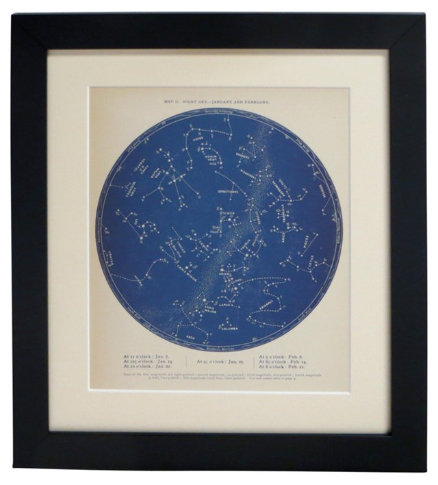 19th-C. Evening Sky  Map, Jan & Feb