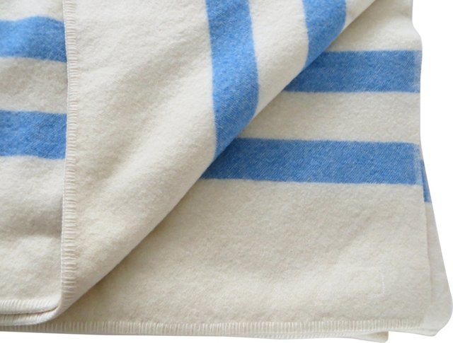 Canadian Blanket w/ Blue Stripes