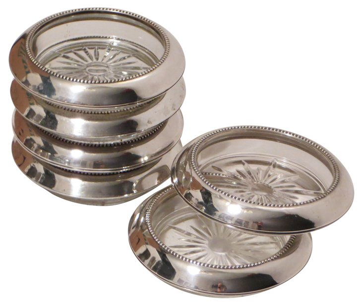 Sterling Silver & Glass Coasters,  S/6