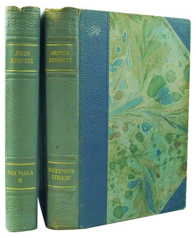 Blue Leather Danish Novels, Pair