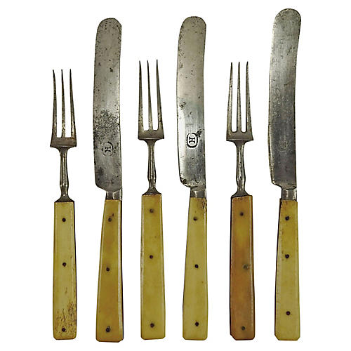 Bone-Handle Flatware, 6-Pcs