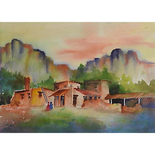 Adobe Village Watercolor