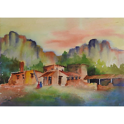 Adobe Village Watercolor