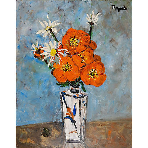 Modernist Orange Floral Still Life