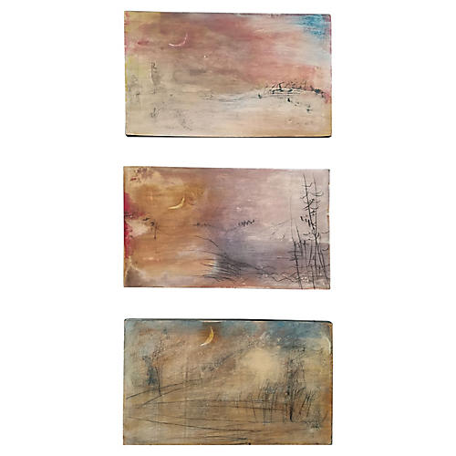 Abstract Landscape Triptych by G. Turner