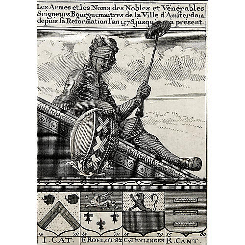 17th-C. French Heraldry Etching