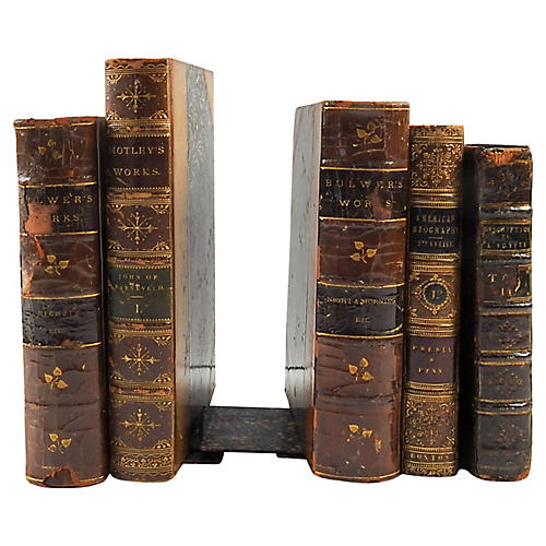 Leather Book Bookends, S/5