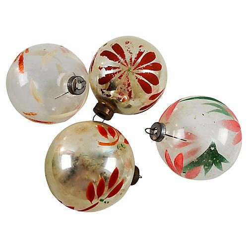 Hand Painted Christmas Ornaments S/4