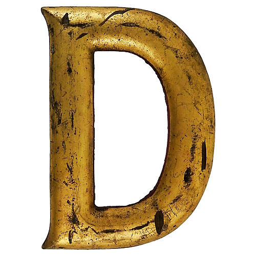 Distressed Giltwood Letter D