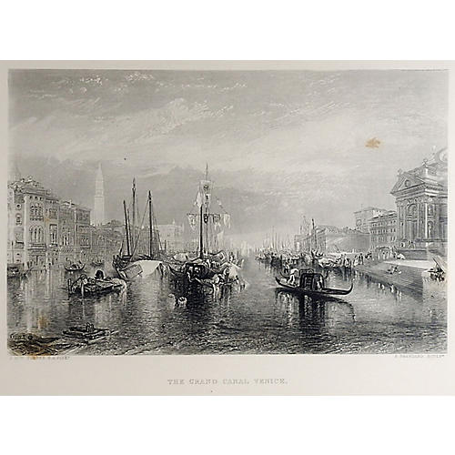 Antique Grand Canal, Venice Engraving