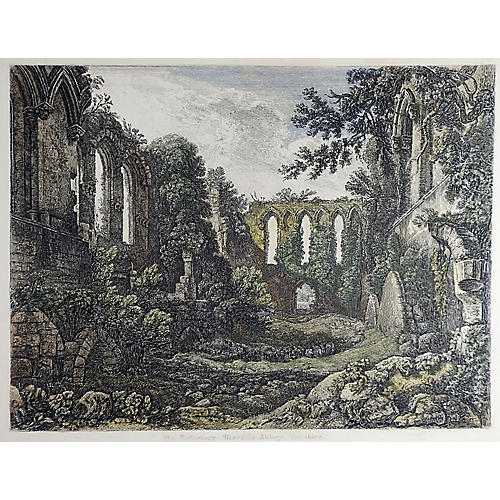 1850s Etching of Rievaulx Abbey, England