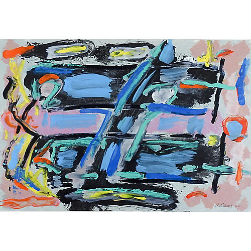 Abstract Blue, Black & Pink Painting