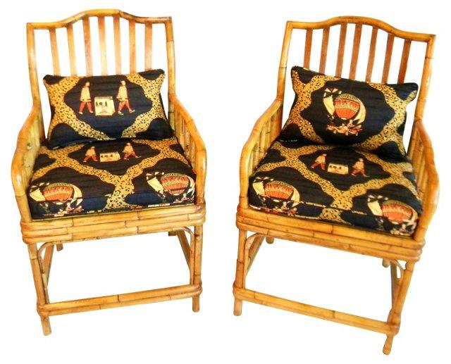 Bamboo Armchairs w/ Cushions, Pair