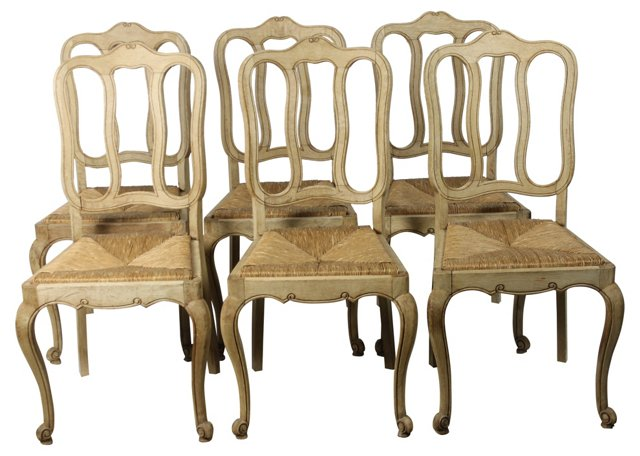 Antique  European   Oak Chairs, S/6