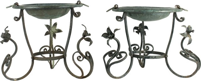 Steel Plant Stands, Pair
