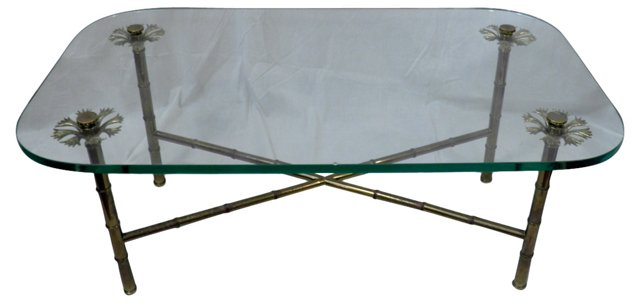 Glass & Brass Prong Coffee Table
