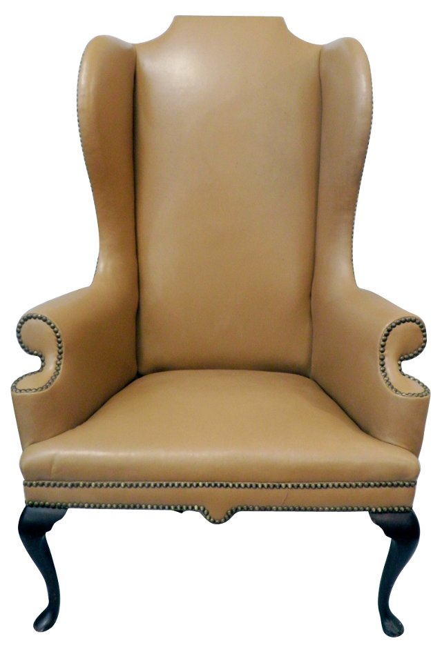 Tan Leather Highback Wing Chair