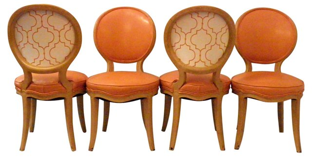 Orange Dining Chairs, S/4