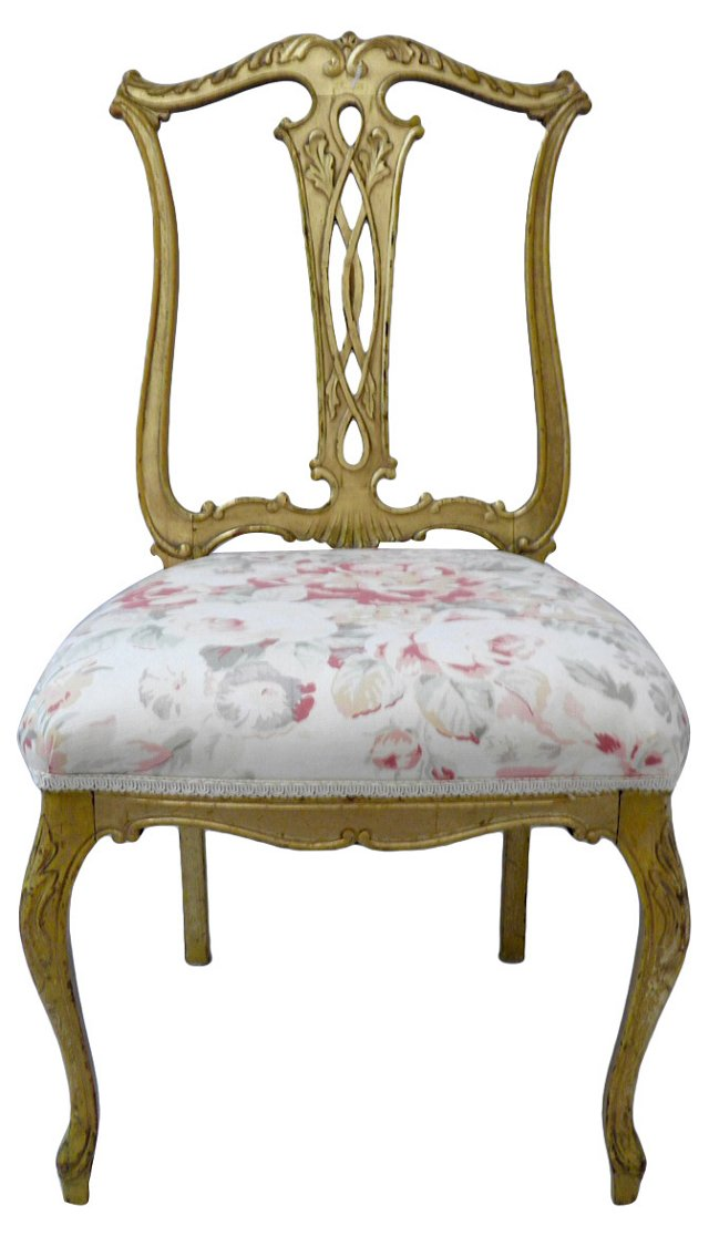 Gold & Floral Chair