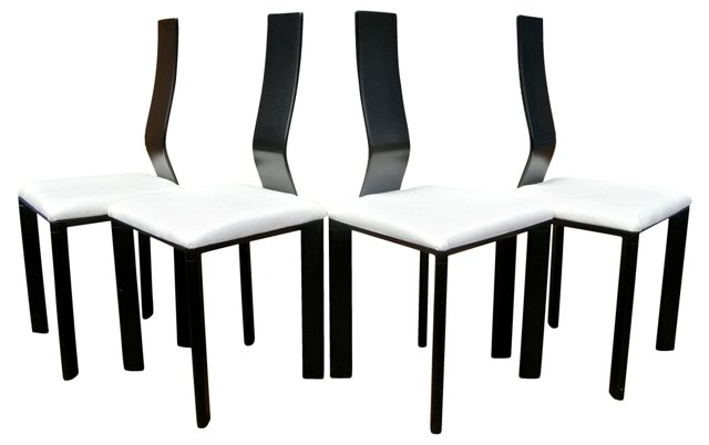 Bent-Back  Chairs, Set of 4