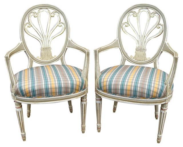 French-Style Plume-Back   Chairs, Pair