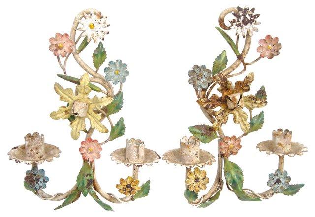 Floral Tole Candle Sconces, Pair