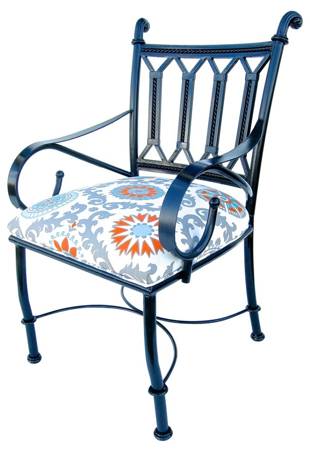 Upholstered Iron  Side Chair