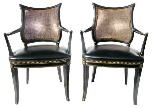 Shield-Back  Armchairs, Pair