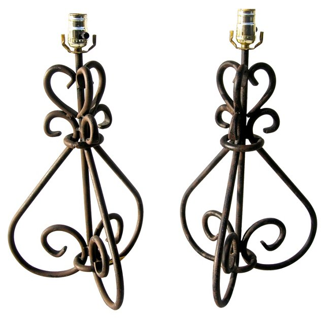 Twisted Iron Lamps, Pair
