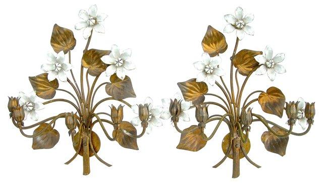 Overscale Tole Floral Sconces, Pair